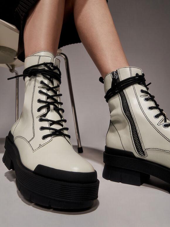 Stitch Detail Combat Boots, Chalk, hi-res
