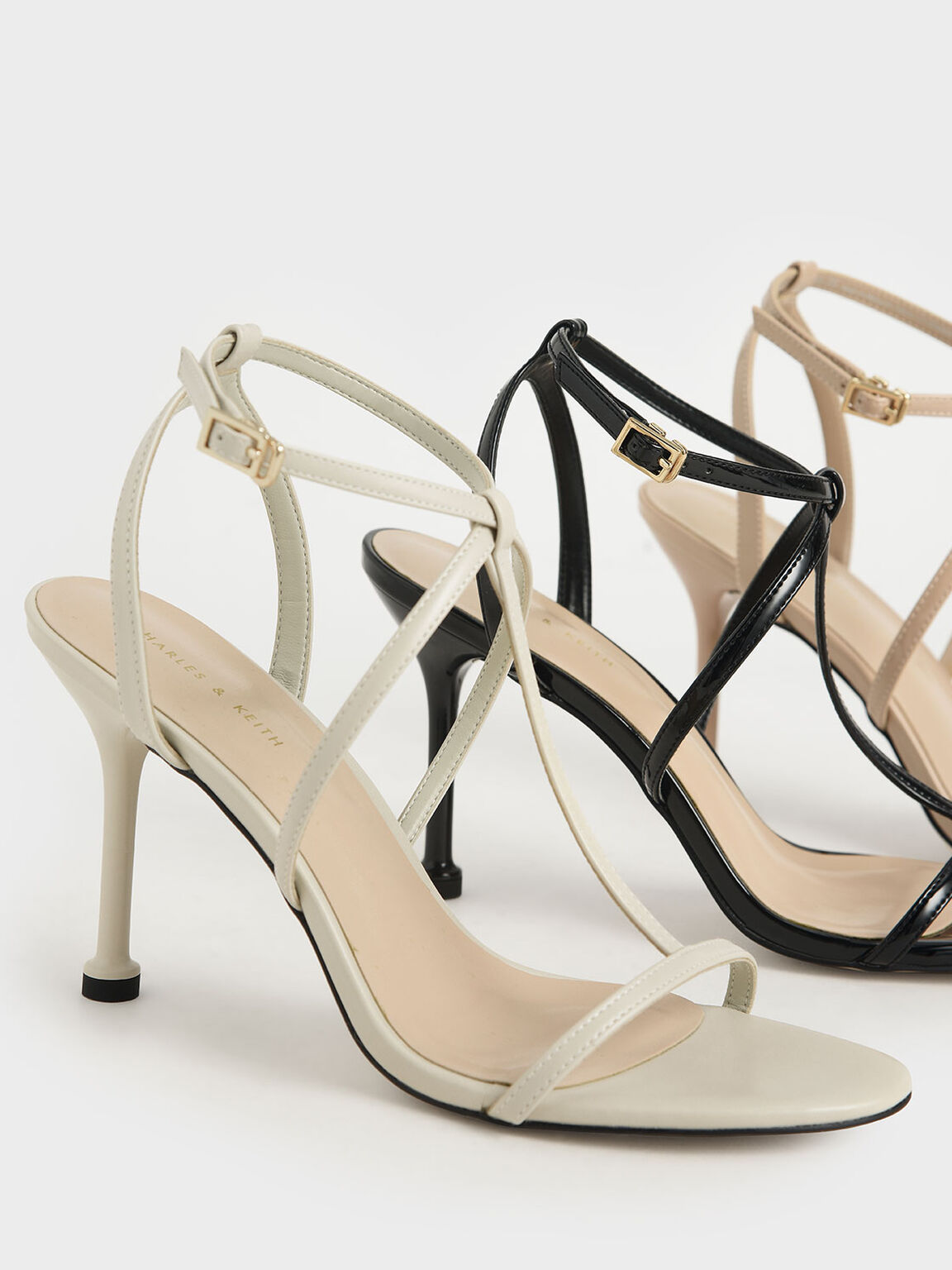 Strappy Stiletto Heels, Chalk, hi-res