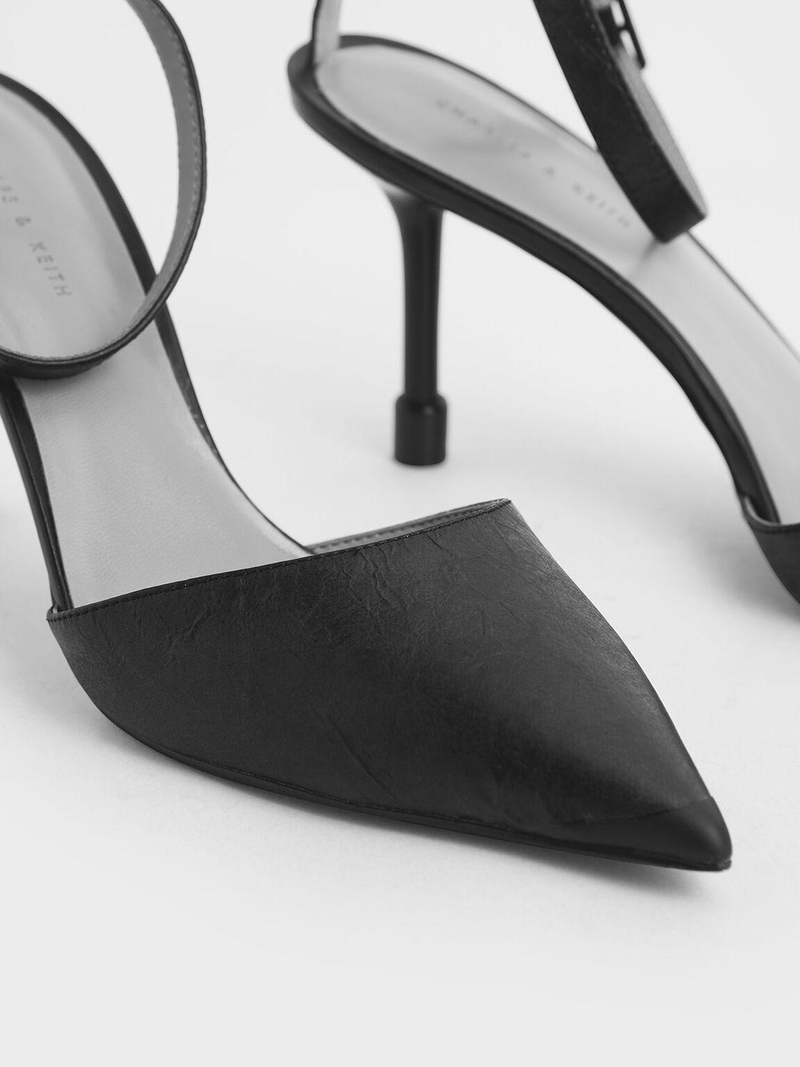 Ankle Strap Pointed Toe Pumps, Black, hi-res
