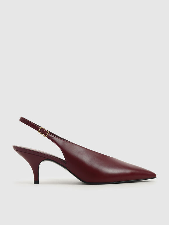 Pointed Toe Slingback Court Shoes, Burgundy, hi-res