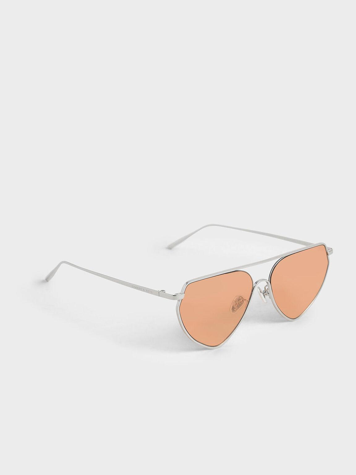 Thin Metal Frame Geometric Sunglasses, Orange, hi-res