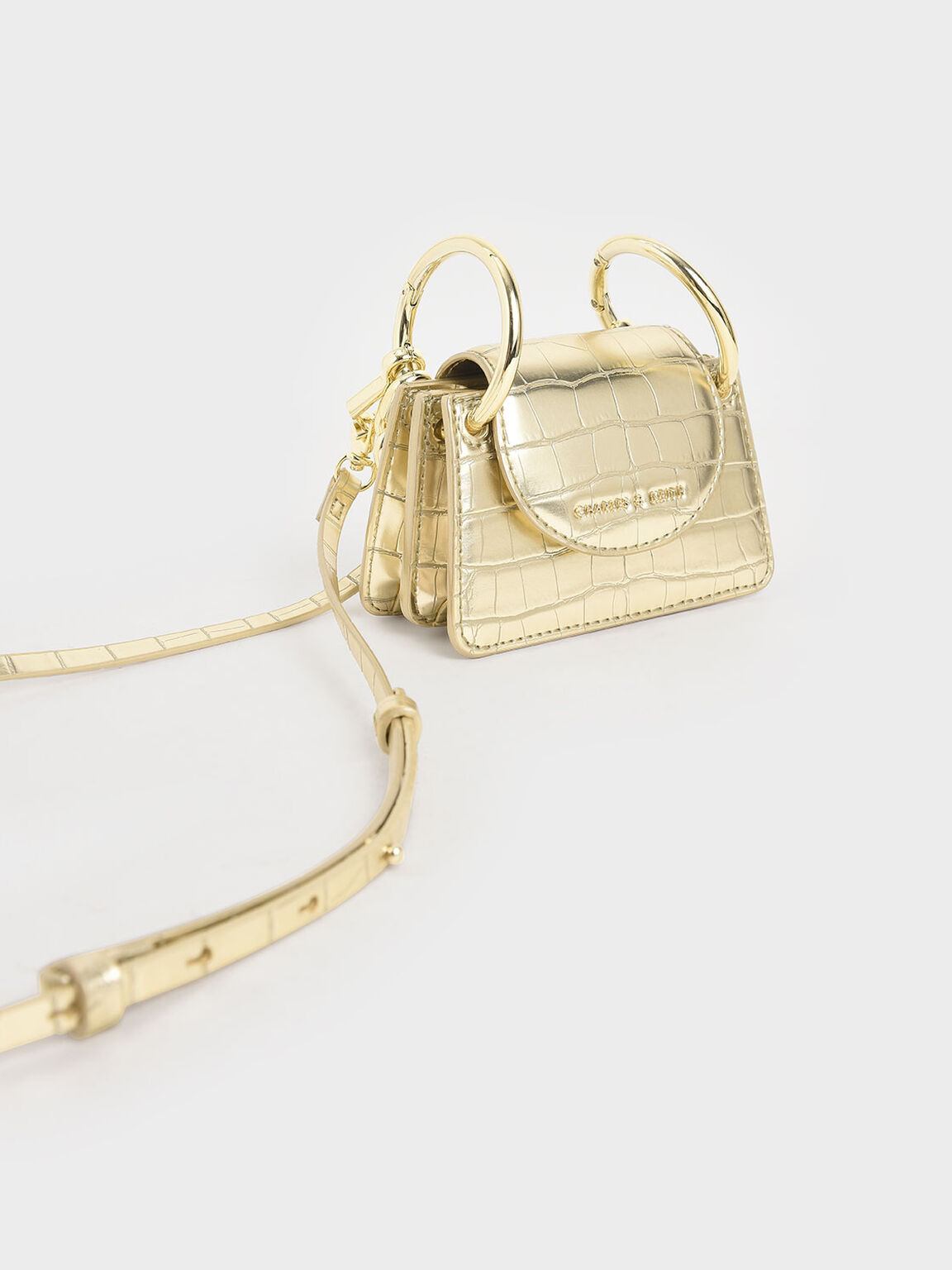 Croc-Effect Chunky Chain Handle Mini Bag, Gold, hi-res