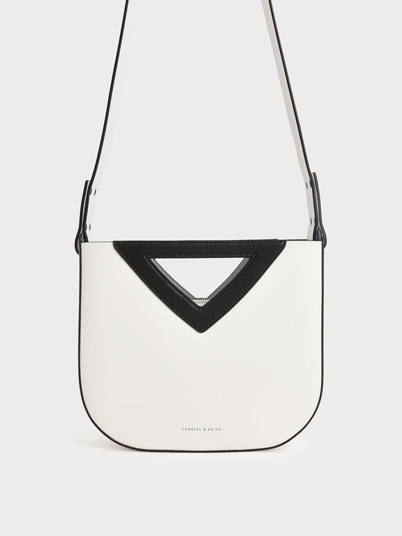 Triangle Handle Tote Bag, White, hi-res
