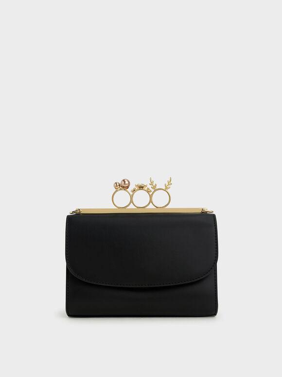 Embellished Clutch, Black, hi-res