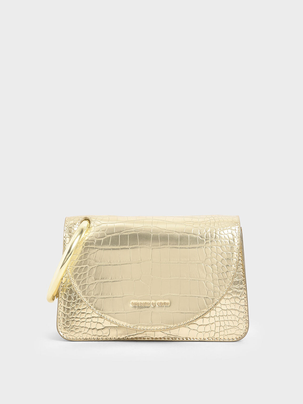 Croc-Effect Acrylic Handle Wristlet Clutch, Gold, hi-res