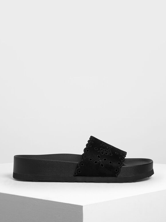 Scalloped Floral Suede Slide Sandals, Black, hi-res