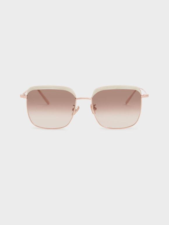 Thin Metal Frame Square Sunglasses, Cream, hi-res