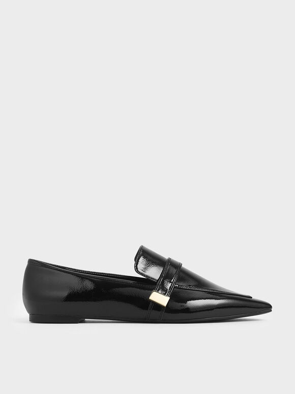 Metal Accent Loafers, Black, hi-res