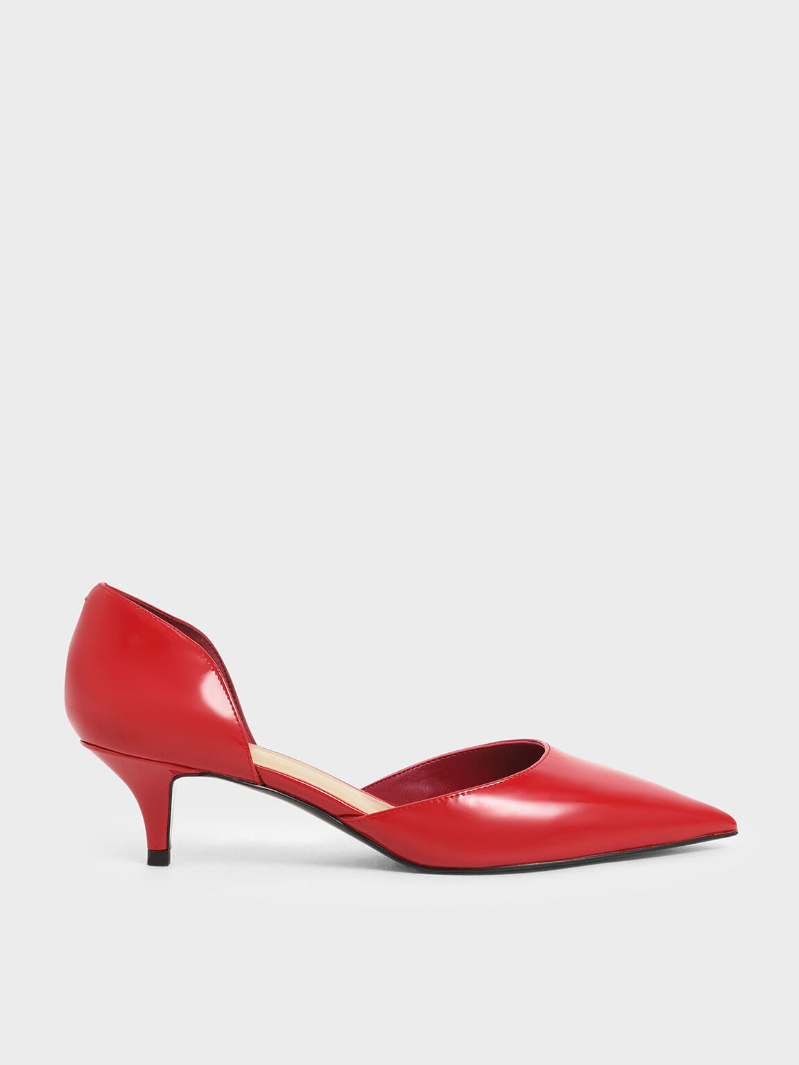 Patent D'Orsay Kitten Heel Pumps, Red, hi-res