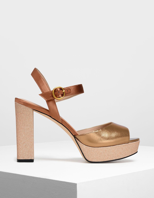 Gold Glitter Platform Heels | CHARLES