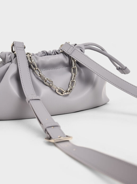 Chain Handle Drawstring Clutch, Lilac, hi-res