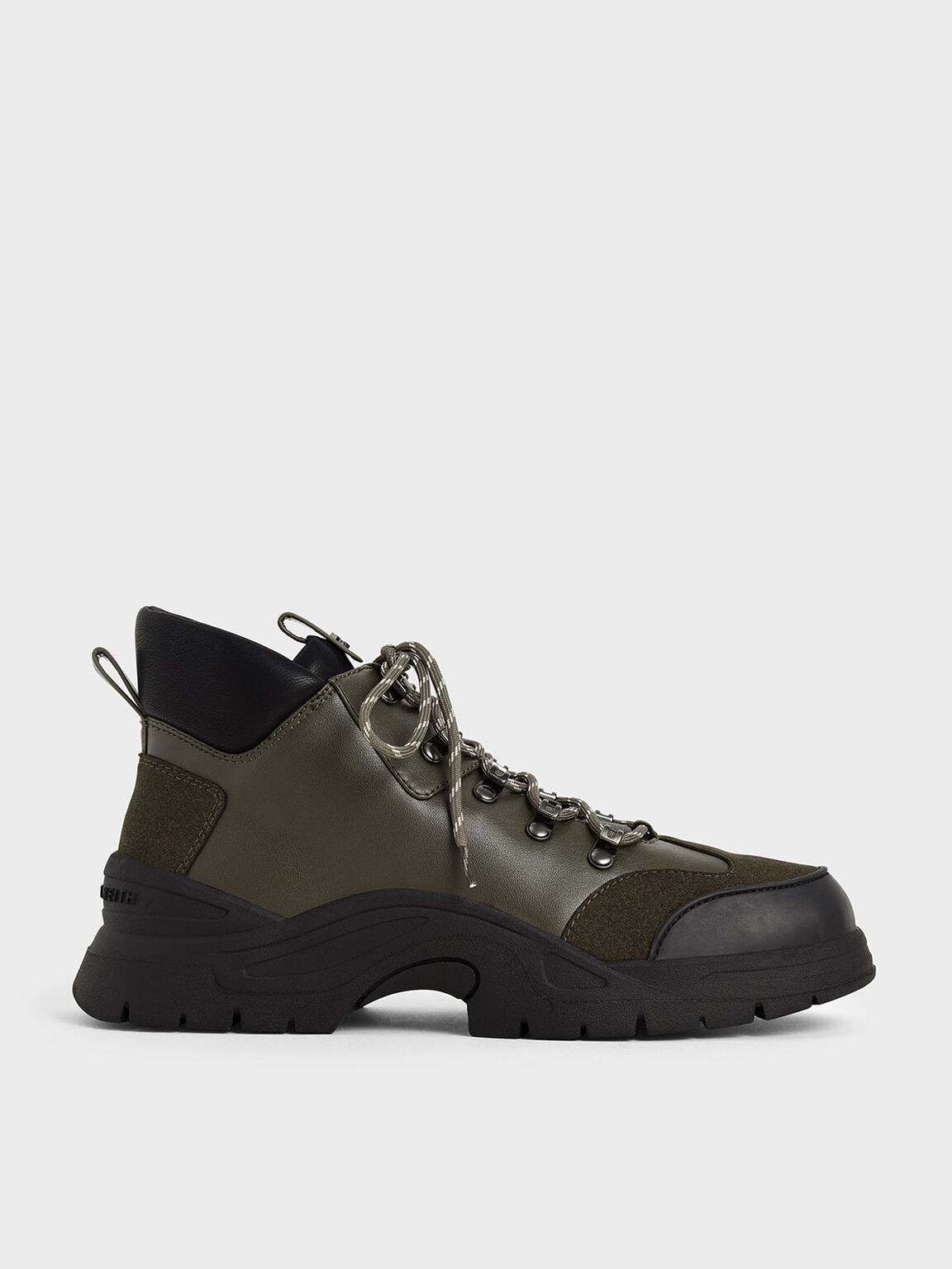 Textured High Top Trainers, Olive, hi-res