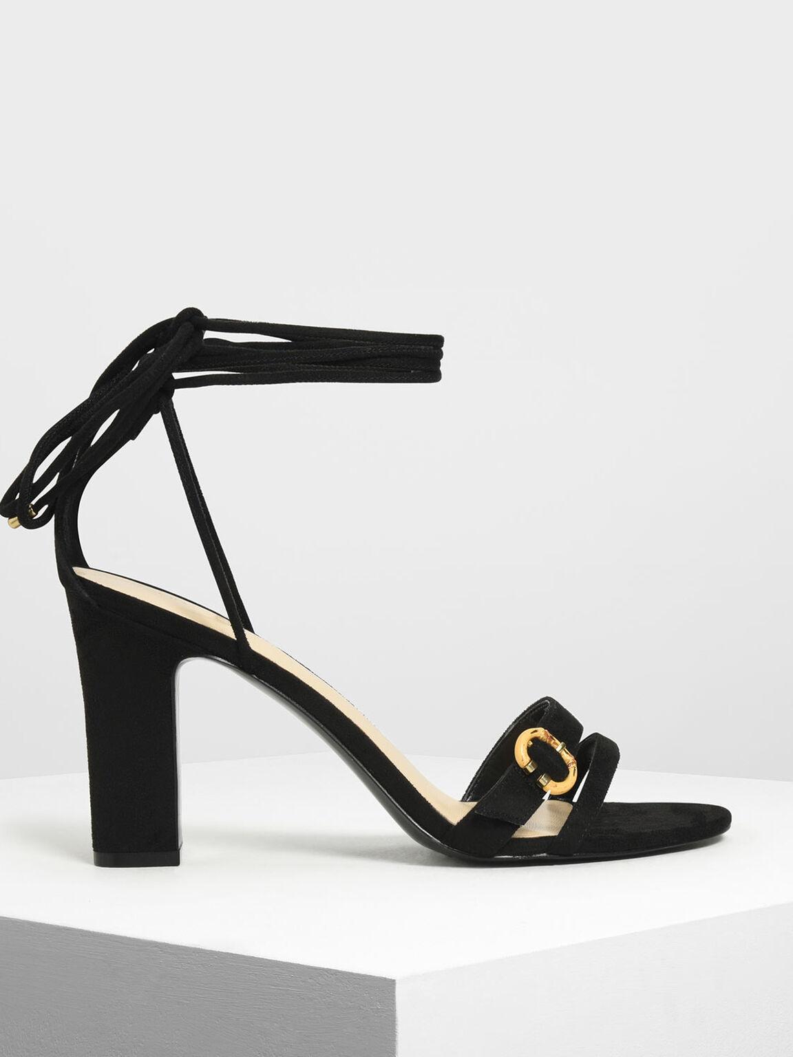 Open Toe Strappy Block Heels, Black, hi-res