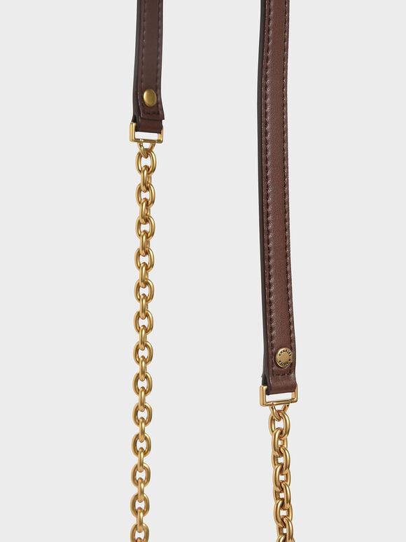 Double Handle Metallic Push-Lock Shoulder Bag, Dark Brown, hi-res