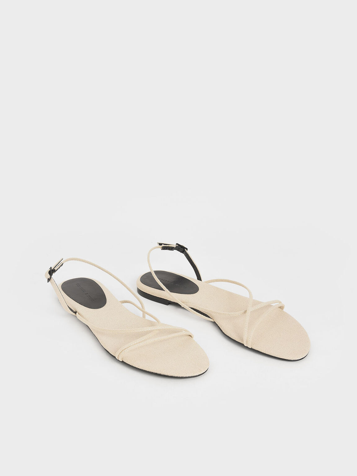 Canvas Strappy Flat Sandals, Beige, hi-res