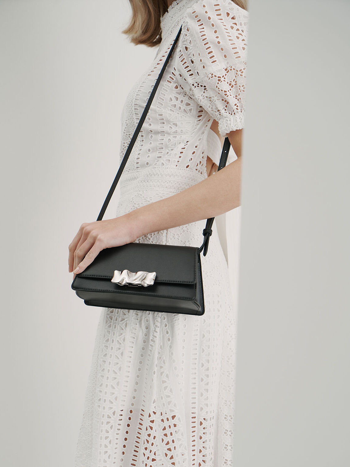 Metallic Accent Shoulder Bag, Black, hi-res