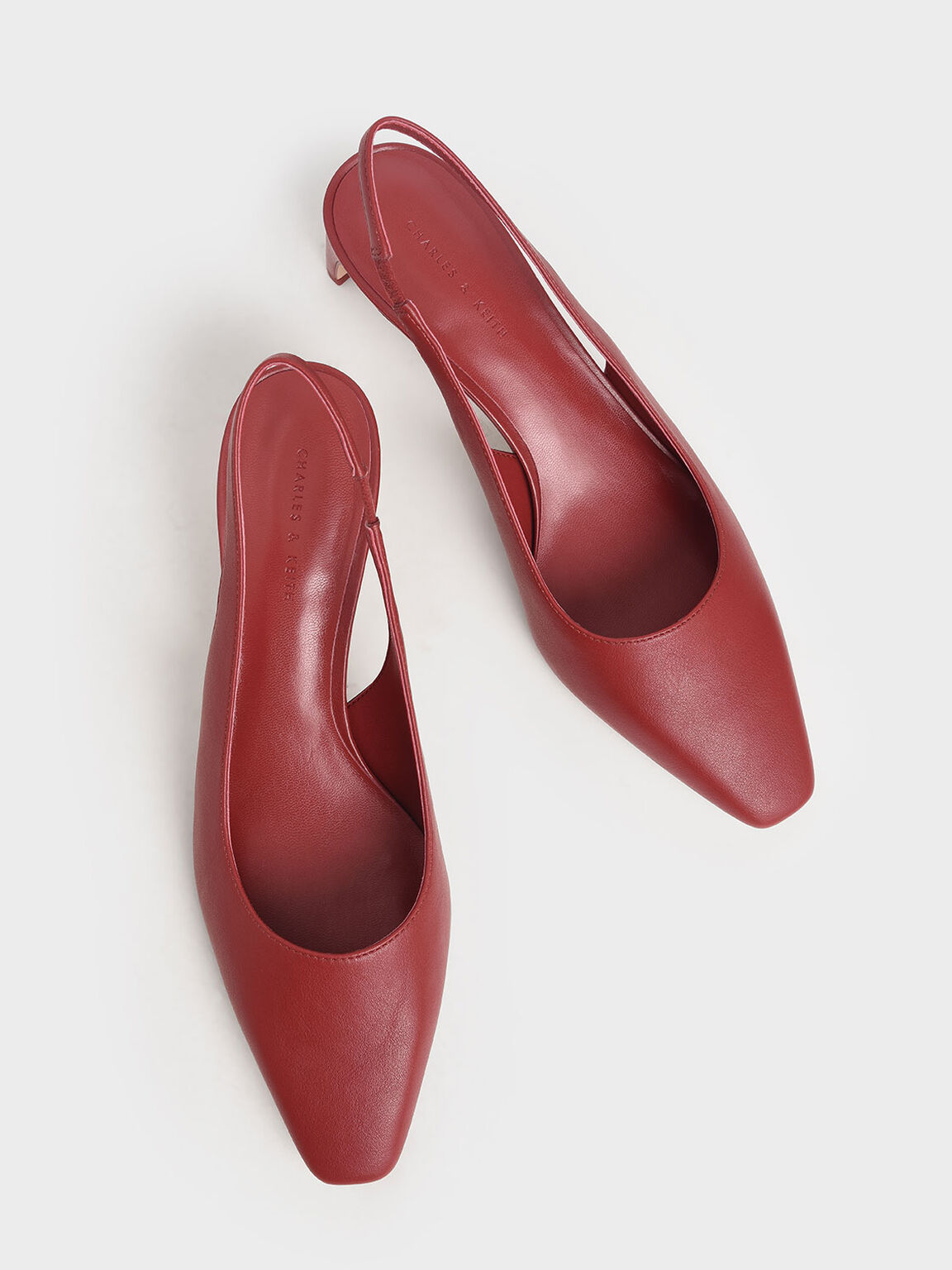 Blade Heel Slingback Pumps, Red, hi-res