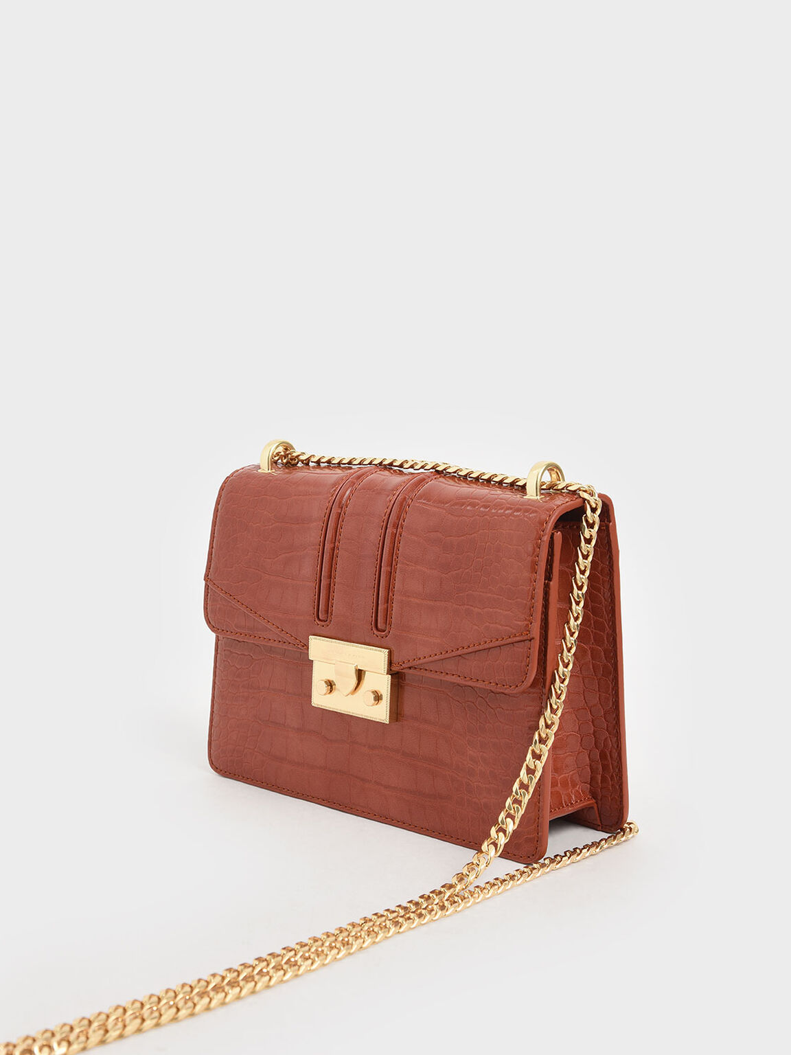 Croc-Effect Chain Strap Shoulder Bag, Clay, hi-res