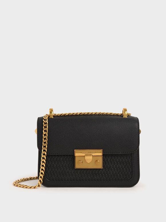 Textured Metallic Push-Lock Crossbody Bag, Black, hi-res