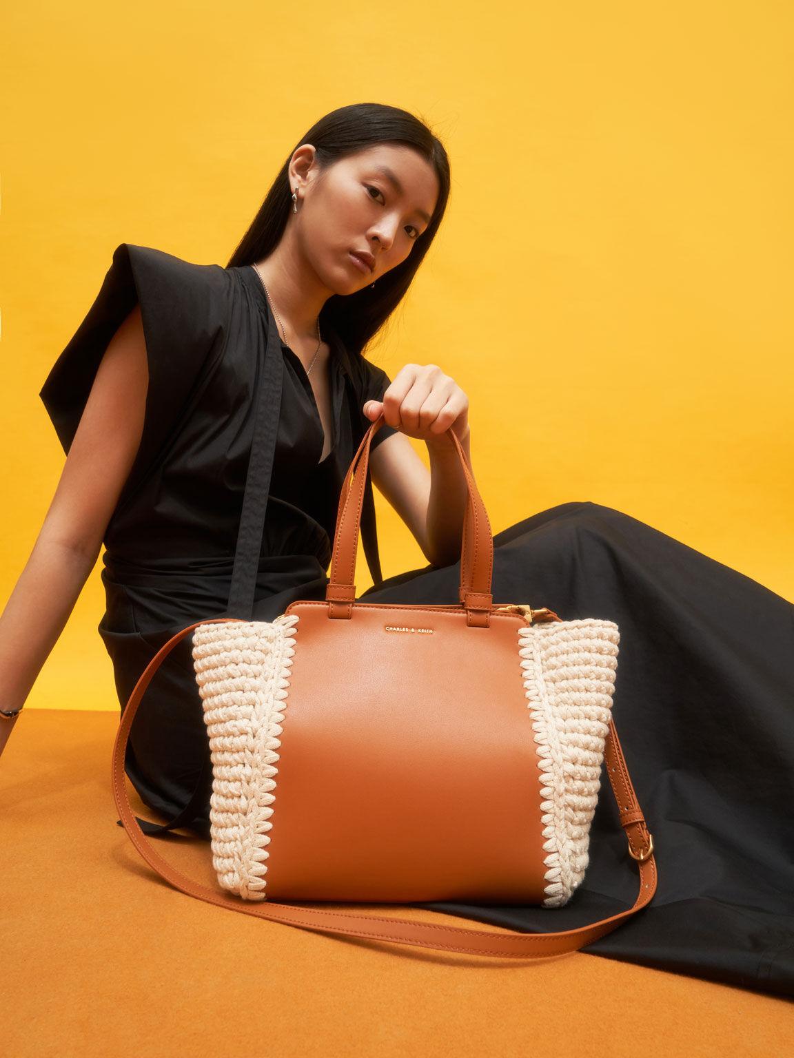 Crochet Tote Bag, Cognac, hi-res