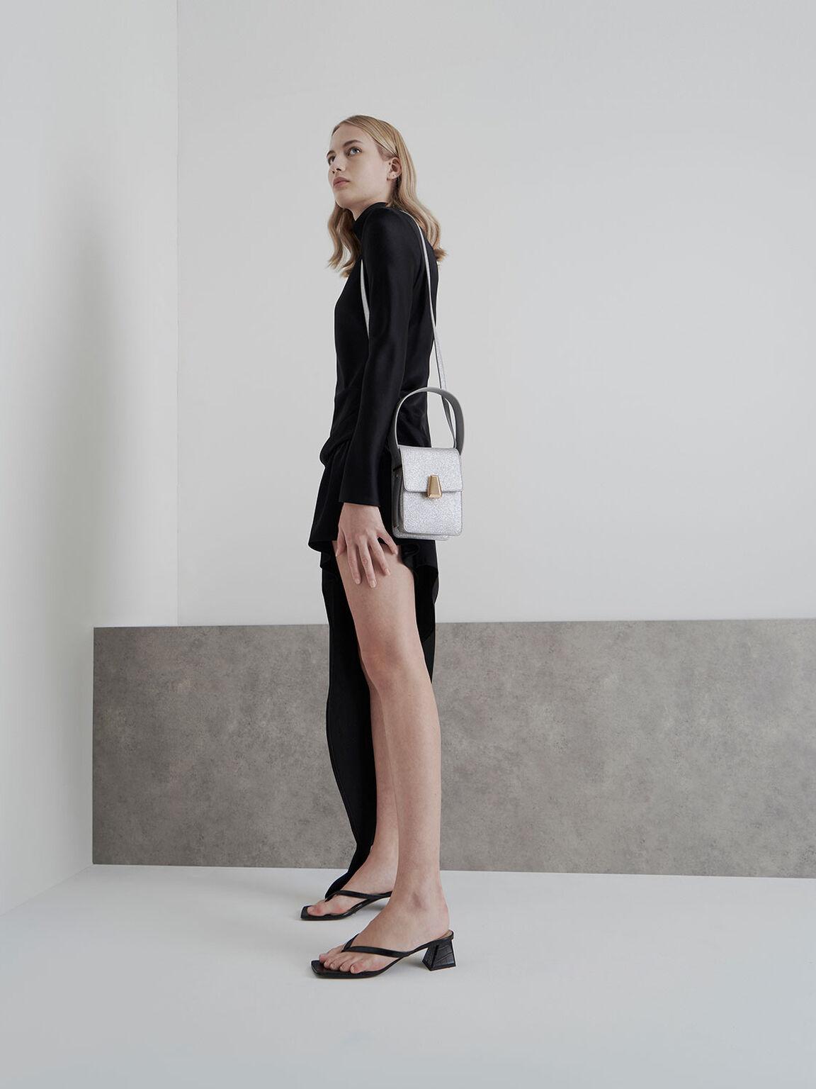 Croc-Effect Thong Heeled Sandals, Black, hi-res