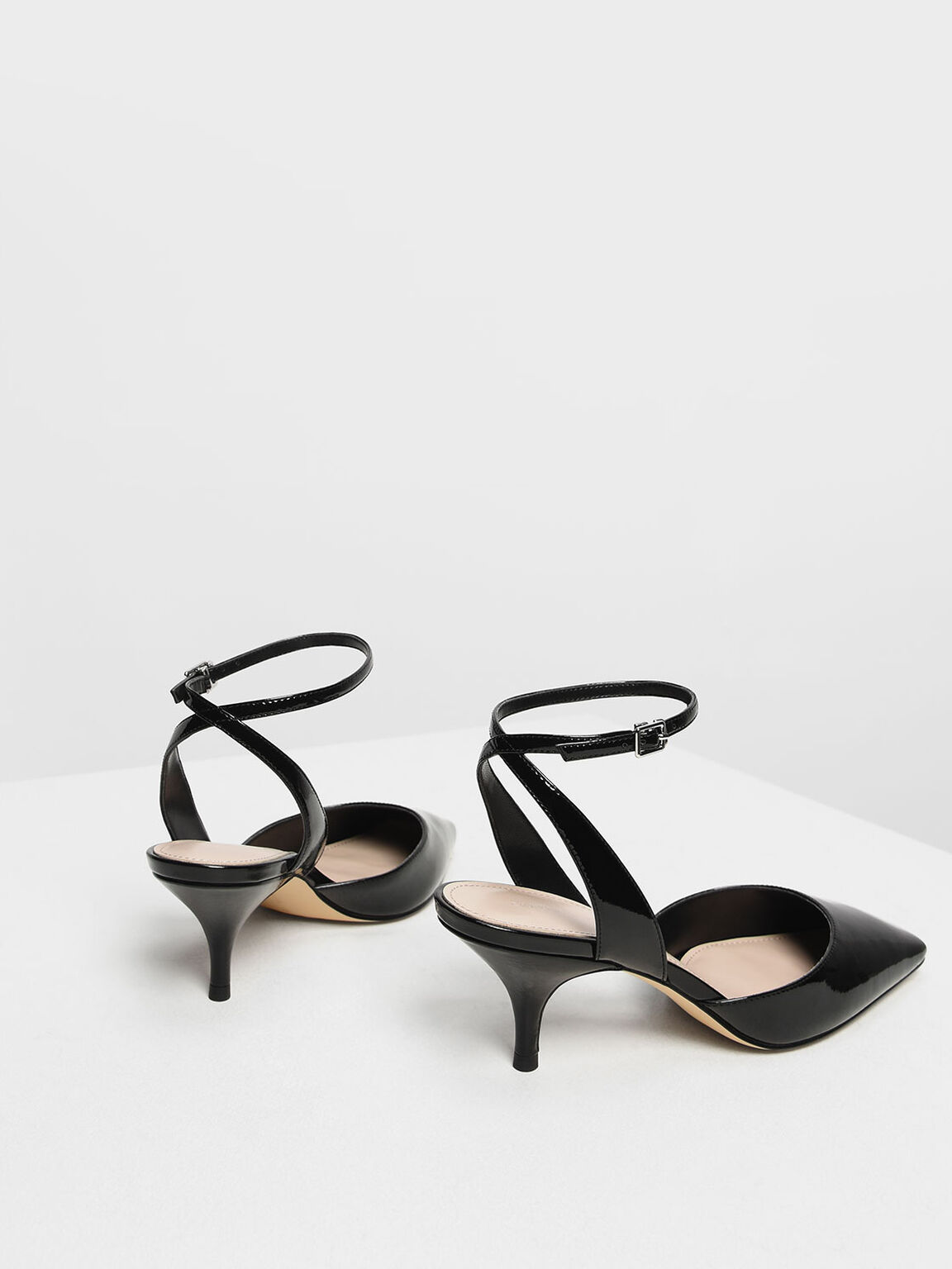 Square Toe Ankle Strap Heels, Black, hi-res