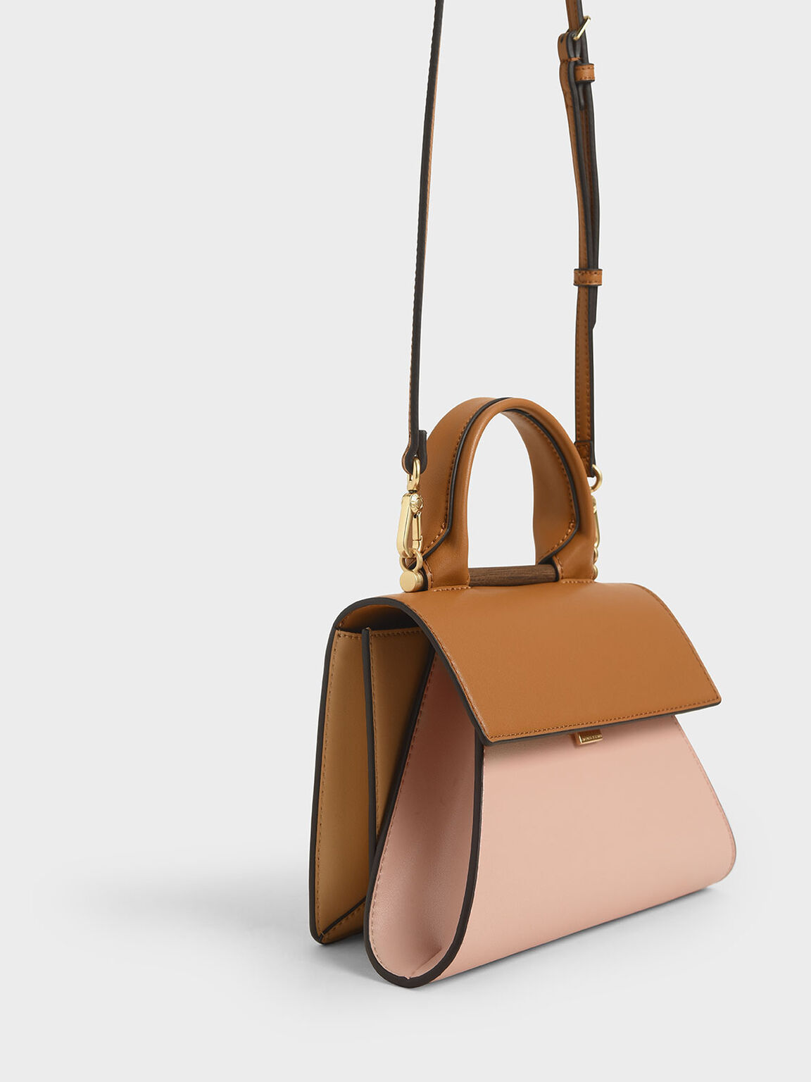 Small Two-Tone Sculptural Bag, Pink, hi-res