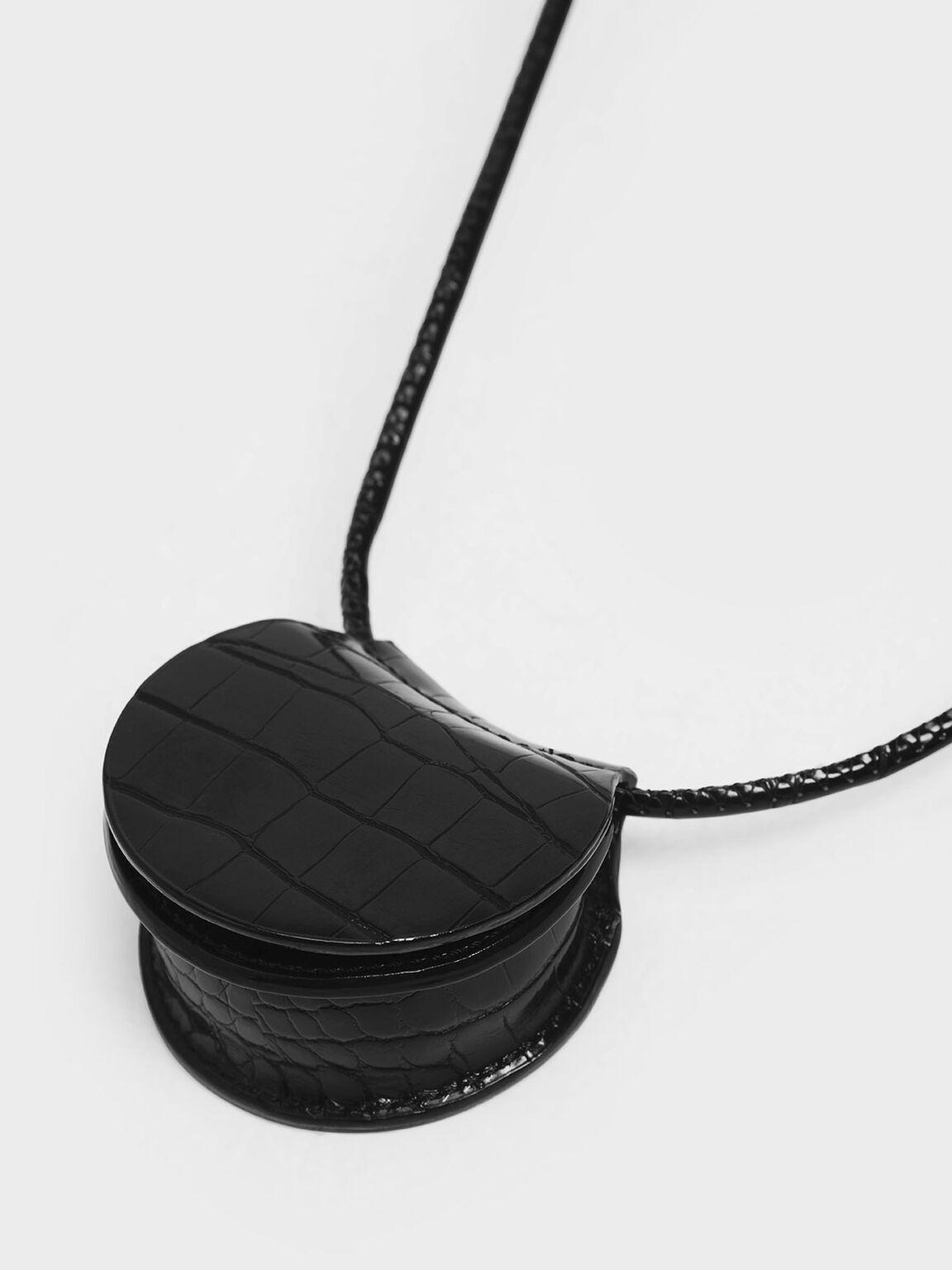 Croc-Effect Necklace Bag, Black, hi-res