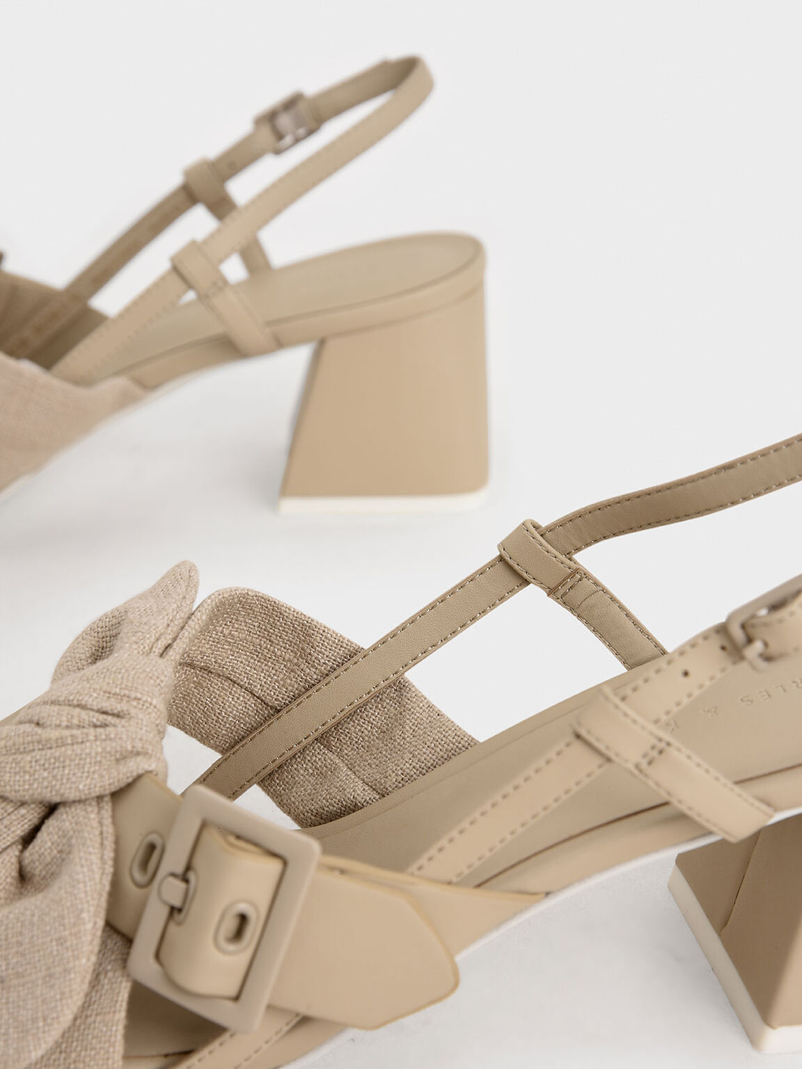 Summer 2020 Responsible Collection: Linen Tie Slingbacks, Taupe, hi-res