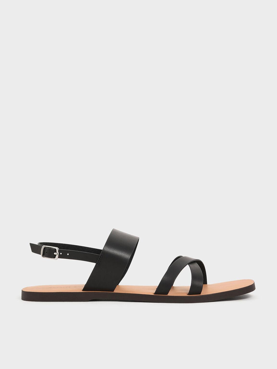 Thick Strap Flats, Black, hi-res