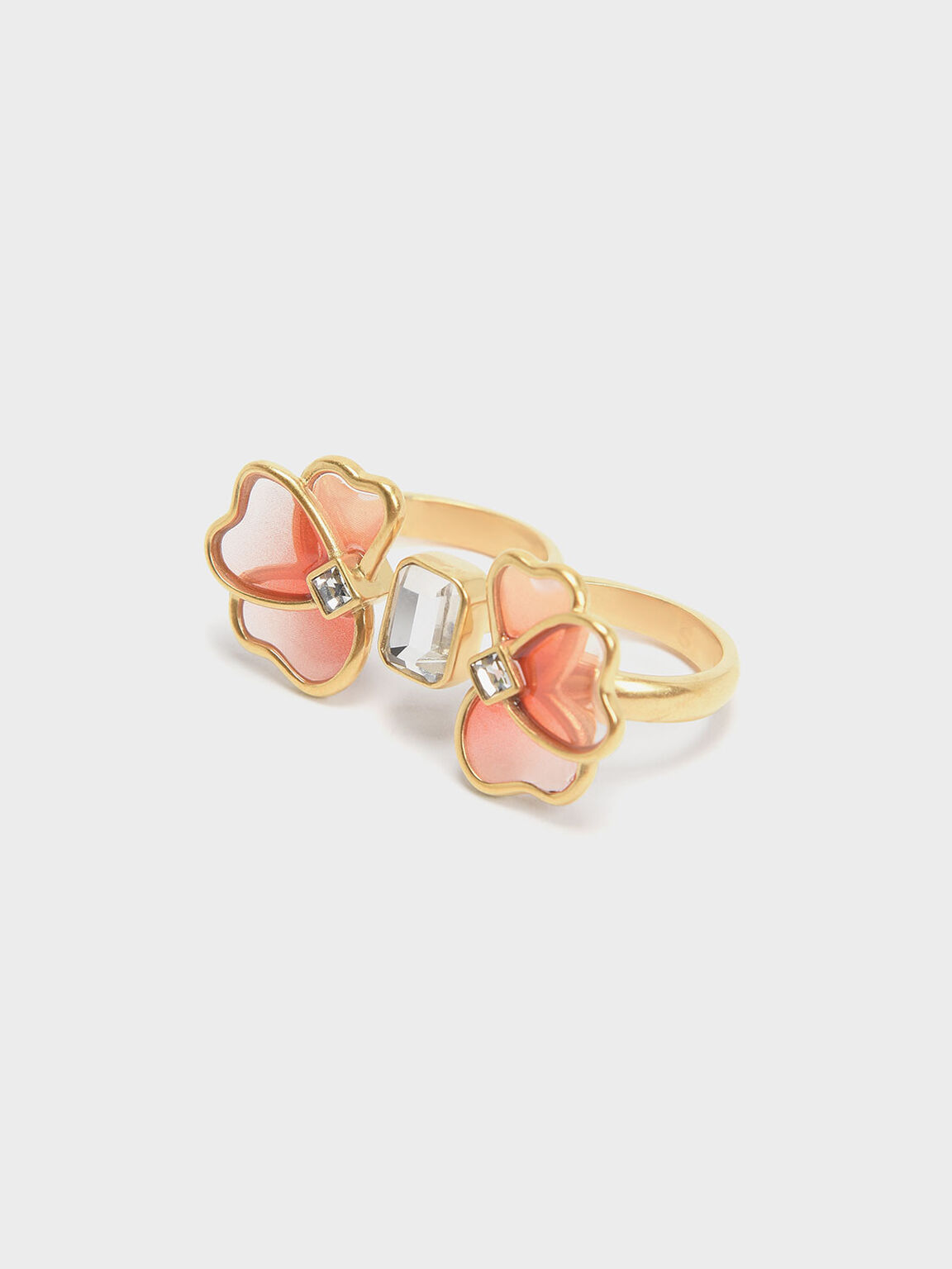 Crystal & Acrylic Petal Double Ring, Pink, hi-res