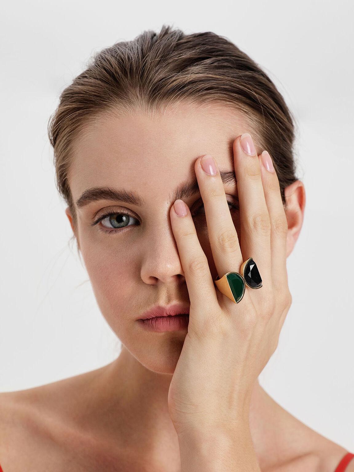 Black Marble Brass Ring, Green, hi-res