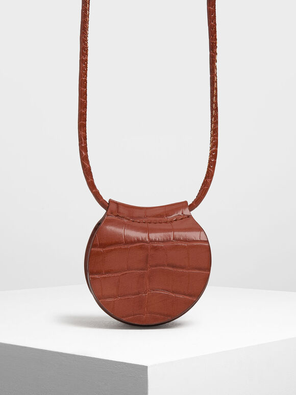 Croc-Effect Necklace Bag, Burgundy, hi-res