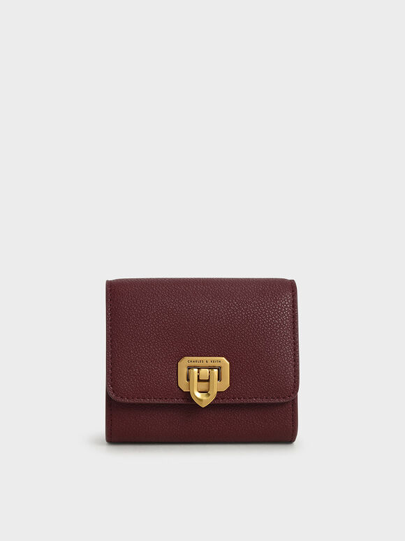 Classic Push-Lock Mini Wallet, Burgundy, hi-res