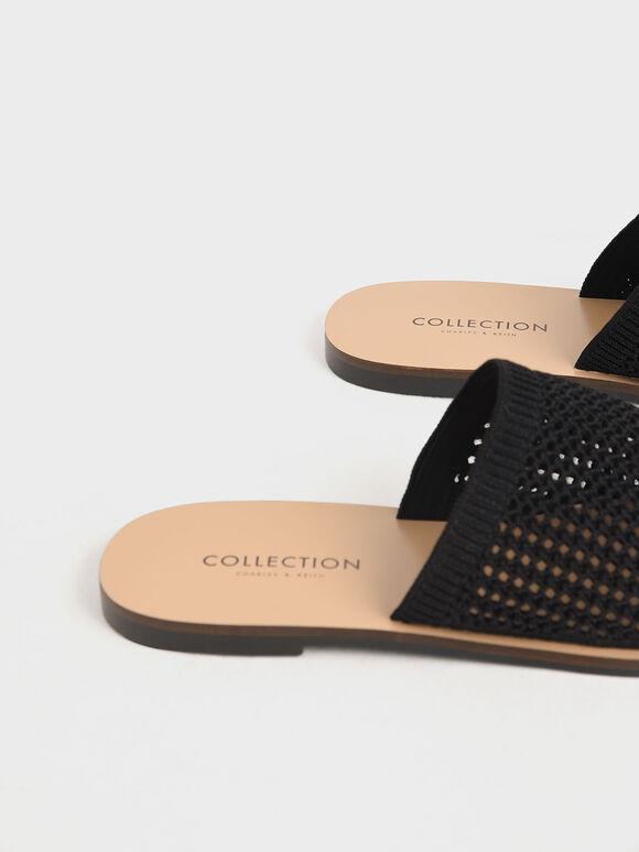 Knitted Asymmetric Slides, Black, hi-res
