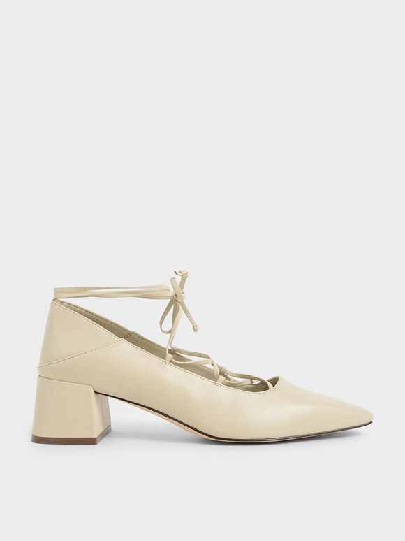 Ankle Tie Pumps, Beige, hi-res