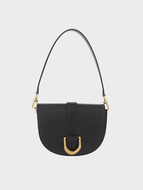 Gabine Leather Saddle Bag, Black, hi-res