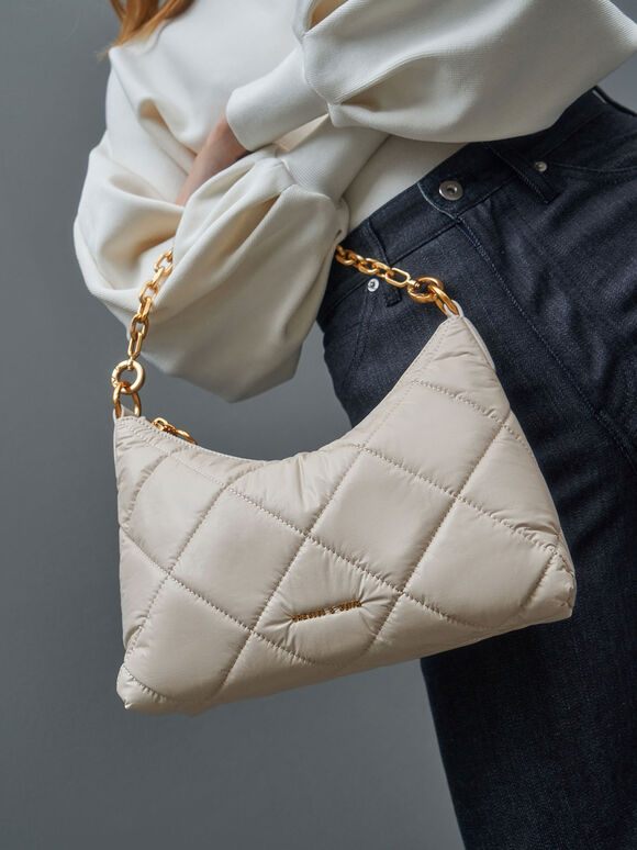 Puffy Quilted Chain Handle Bag, Cream, hi-res