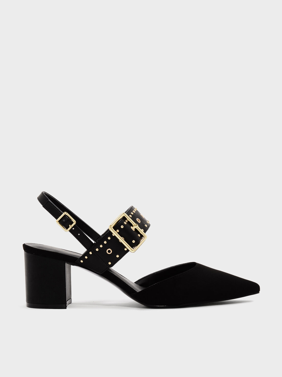 Studded Pointed Slingbacks, Black, hi-res