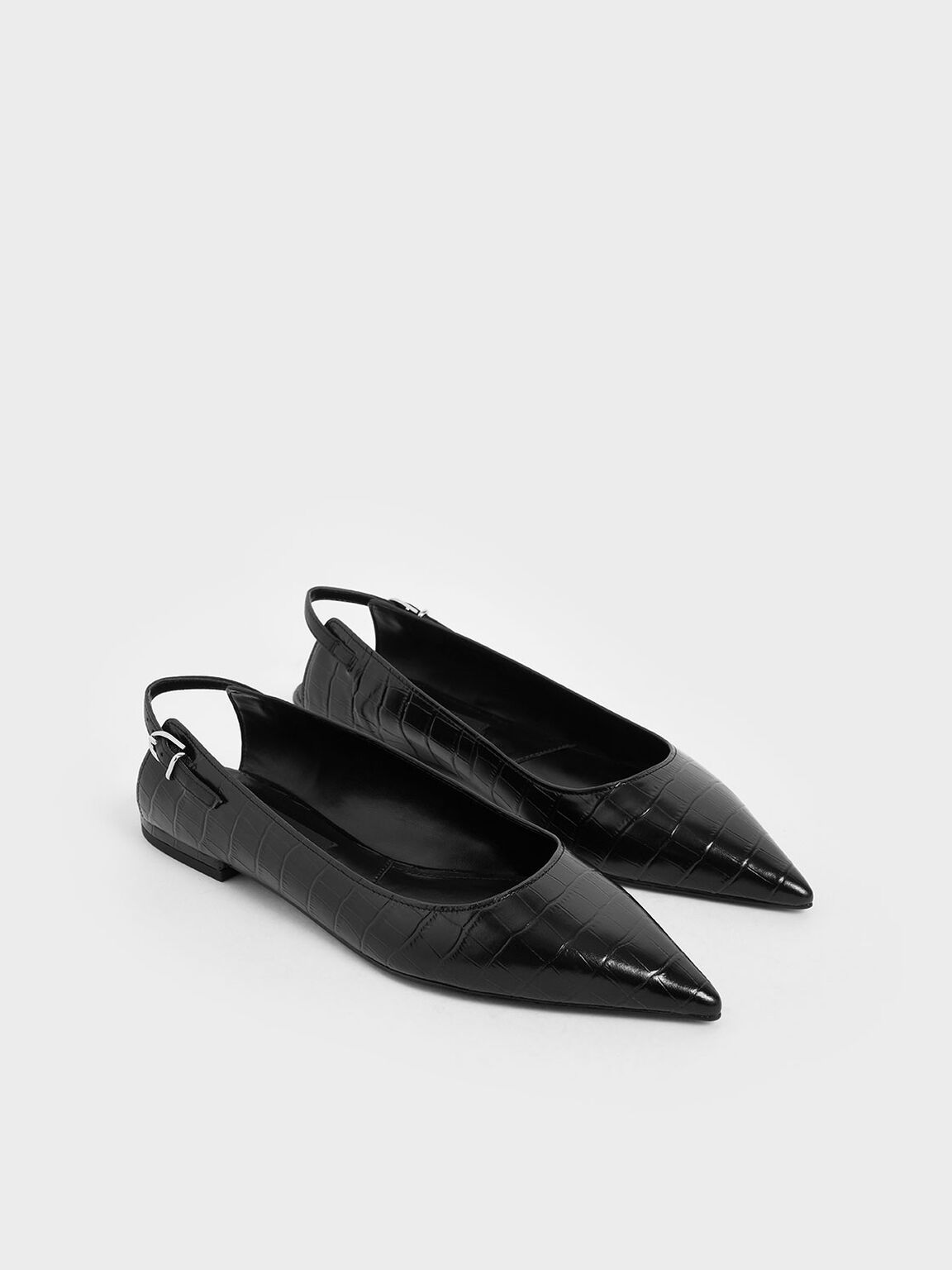 Croc-Effect Leather Ballerina Flats, Black, hi-res