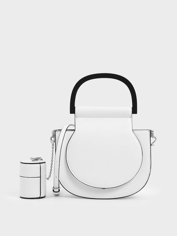 Mini Top Handle Saddle Bag, White, hi-res