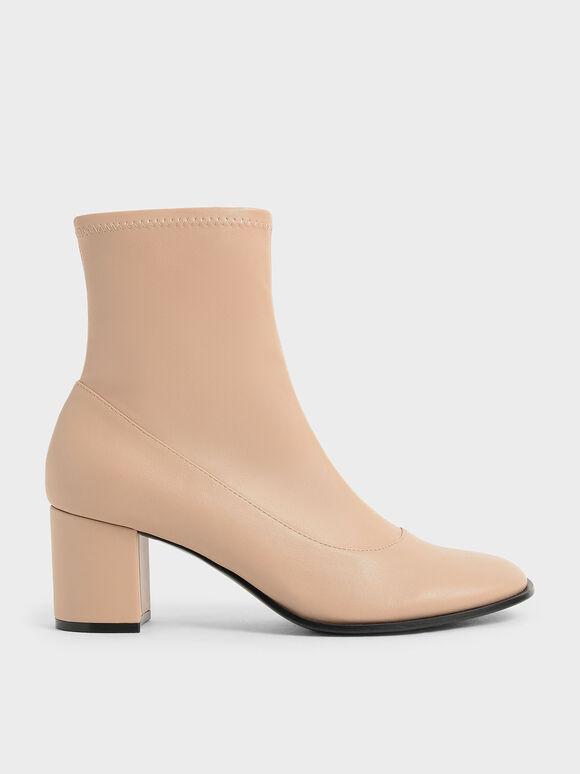 Block Heel Side-Zip Ankle Boots, Beige, hi-res