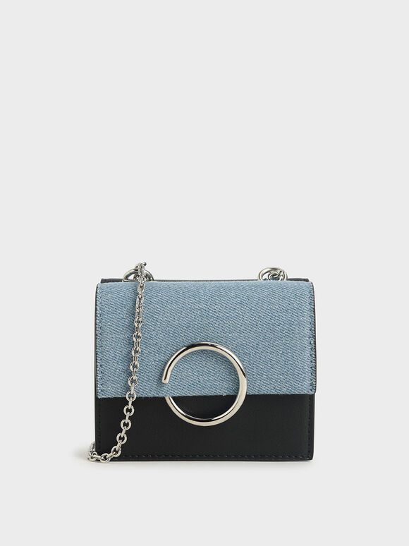 Textured Ring Detail Short Wallet, Denim Blue, hi-res