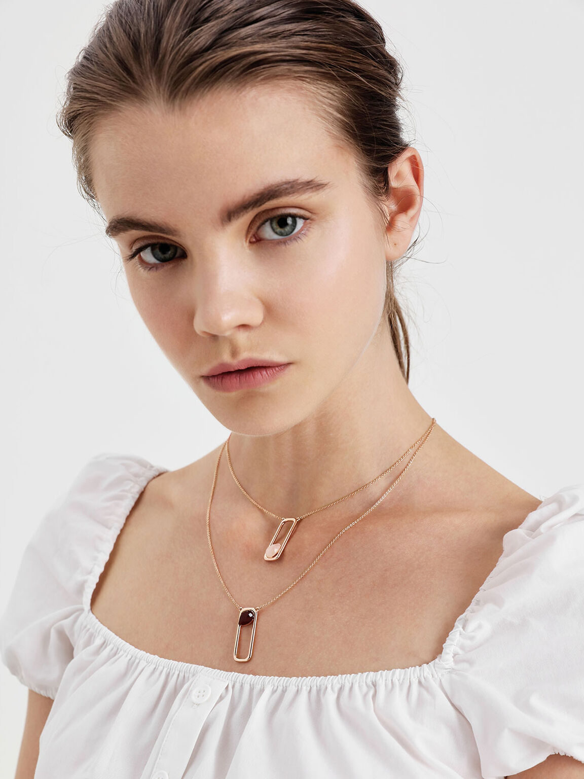 Rose Quartz Layered Necklace, Rose Gold, hi-res