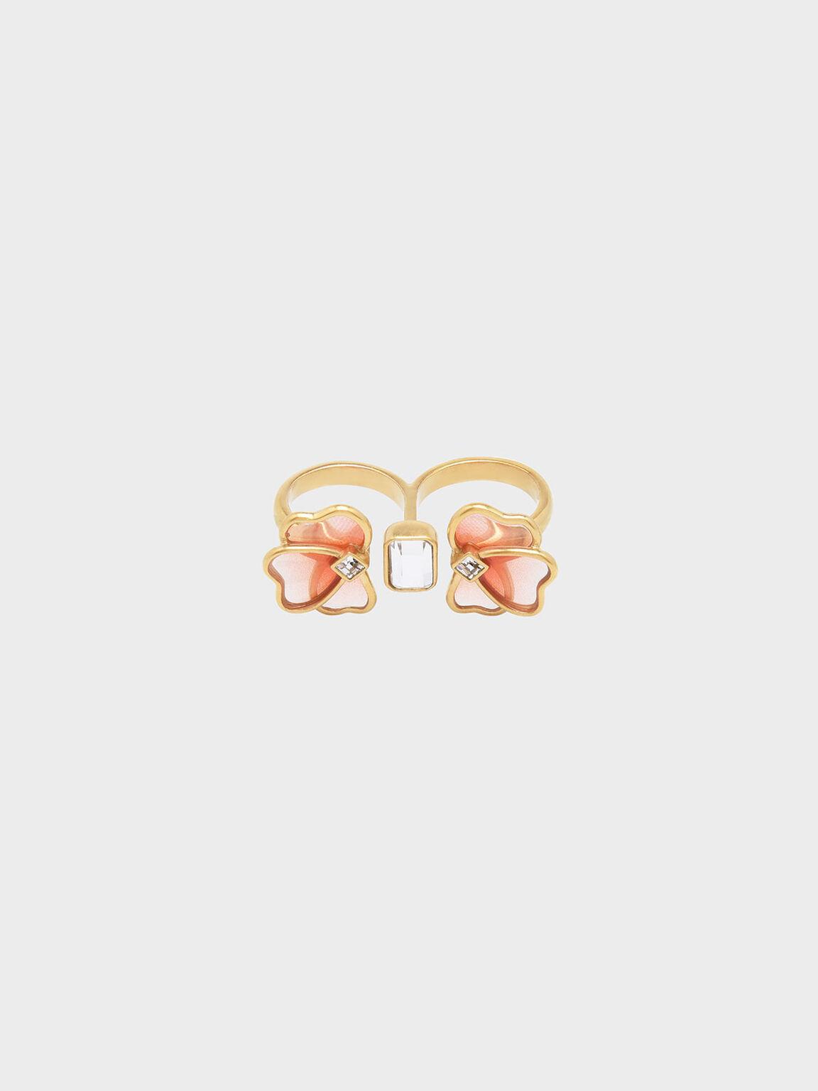 Crystal & Acrylic Petal Double Ring, Pink, hi-res