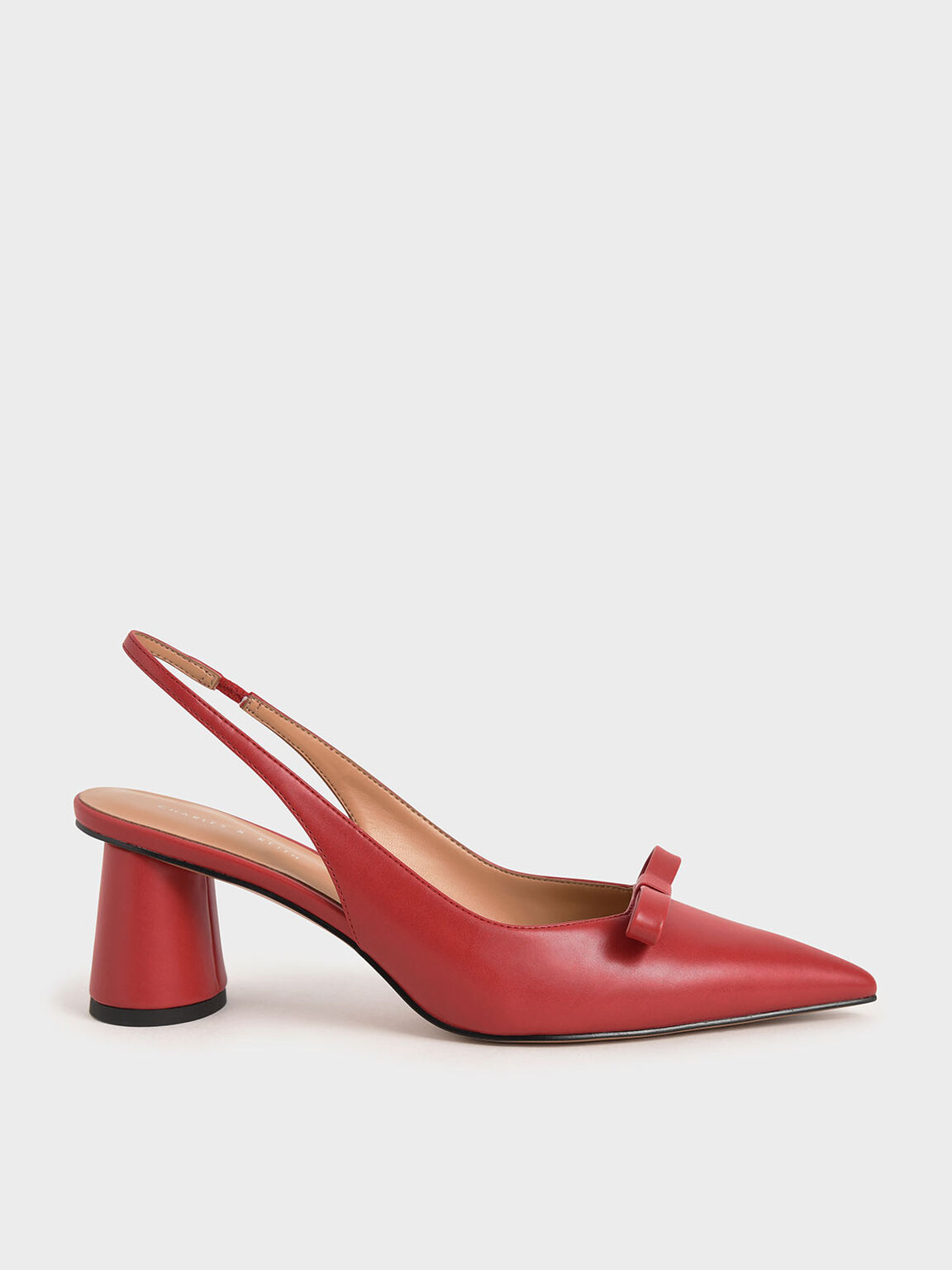 Bow Slingback Court Shoes, Red, hi-res