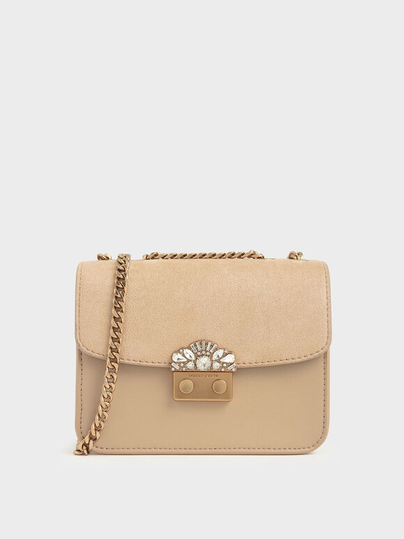 Embellished Buckle Textured Clutch, Beige, hi-res