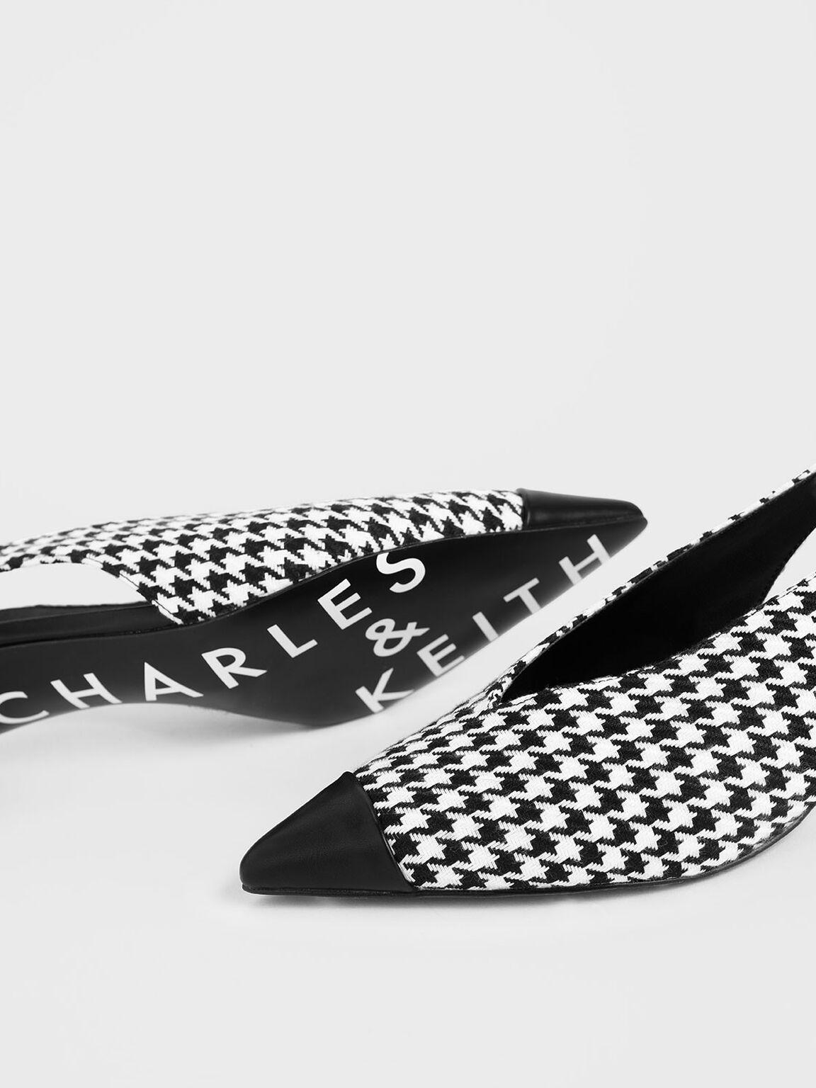 Houndstooth Print Woven Fabric Slingback Heels, Multi, hi-res