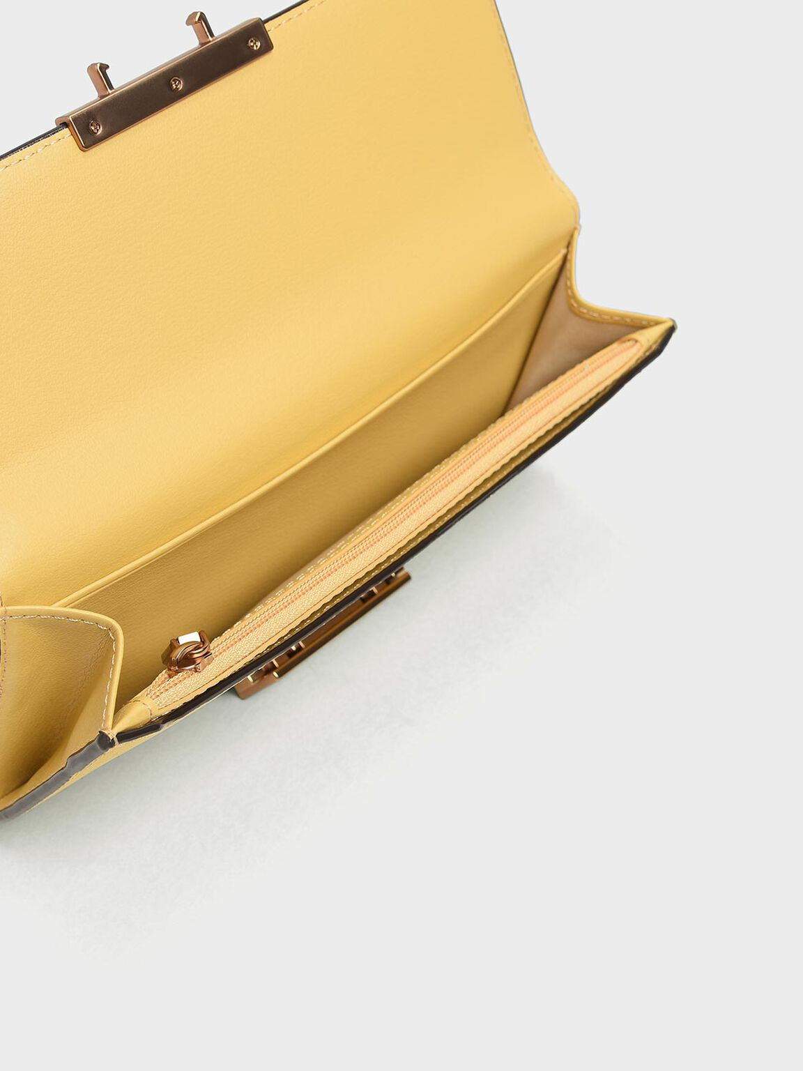 Metal Rim Long Wallet, Yellow, hi-res