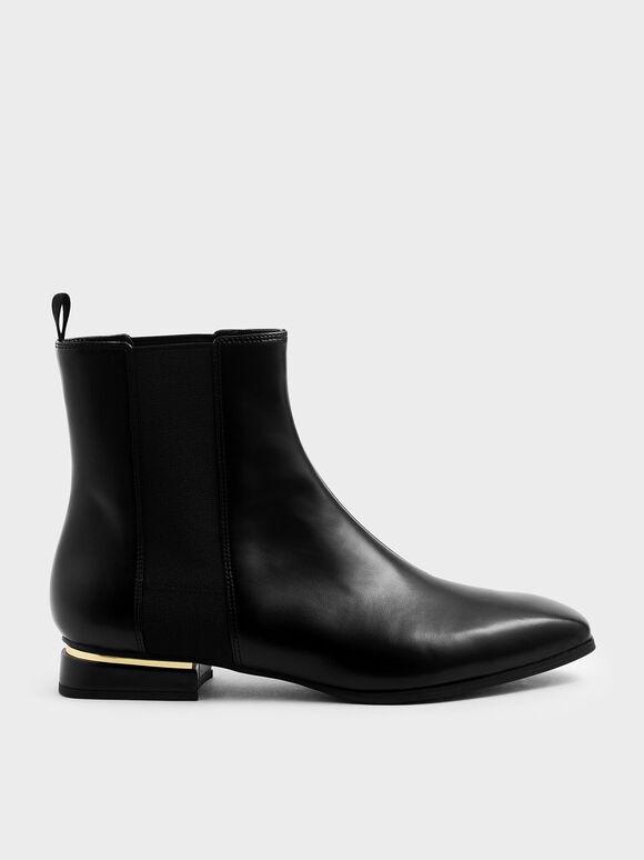 Metal Accent Heel Chelsea Boots, Black, hi-res